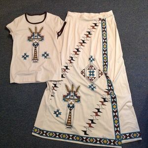 Vintage Shaheen Indian Ethnic Top Skirt Outfit M